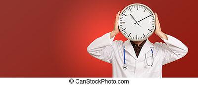 retrato, cara, reloj, paliza, doctor
