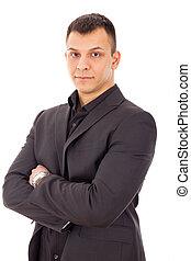 Retrato,  casual, homem negócios