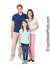 retrato, casuals, família