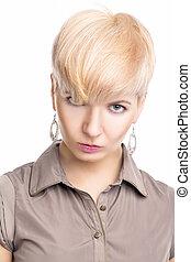 retrato, caucasian mulher, jovem