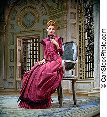 retrato, cg, cor-de-rosa, 3d