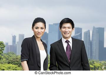 retrato, chino, empresa / negocio