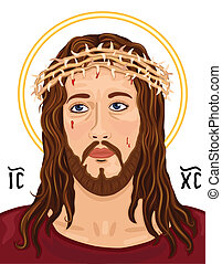 retrato, christogram, cristo, jesús
