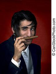 retrato, cigarro, joven