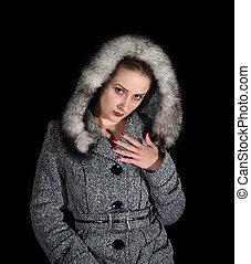 retrato, cinzento, excitado, mulher, agasalho