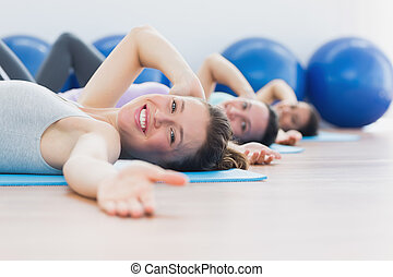 retrato, classe, exercitar, fila, condicão física, estúdio