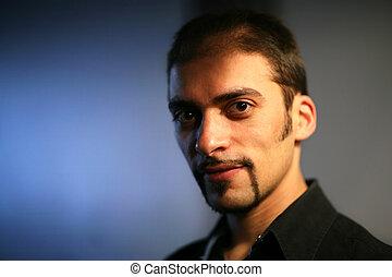 retrato, close-up, bonito, homem jovem