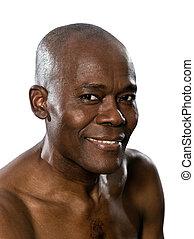 retrato, close-up, homem, shirtless, sorrindo