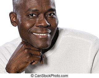retrato, close-up, homem sorridente