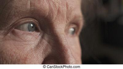 retrato, closeup, olhos, antigas, womans