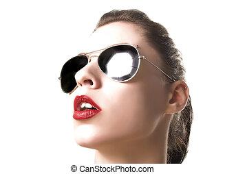 retrato, com, sunglass