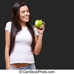 retrato, comendo maçã, femininas