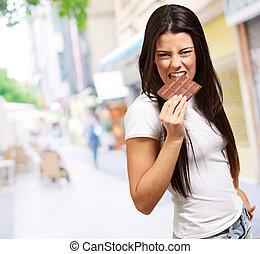 retrato, comer, femininas, chocolate