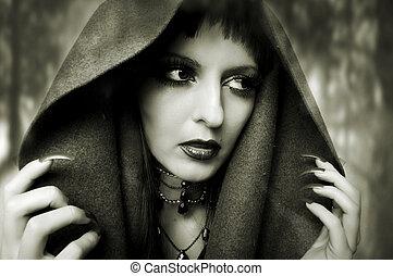 retrato, concept., moda, dia das bruxas, mulher