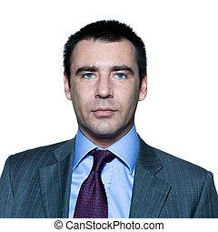 retrato, confiante, bonito, homem negócios