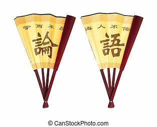 retrato, confucius, ventilador, chino