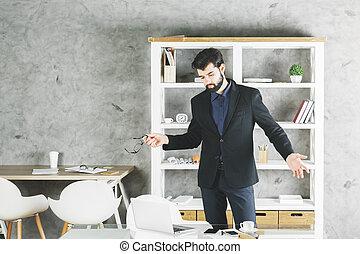retrato, confundido, homem negócios