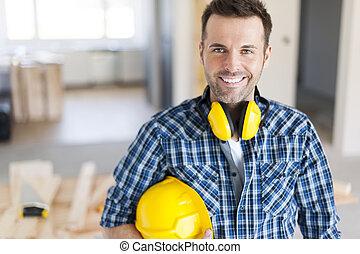 retrato, construção, sorrindo, trabalhador