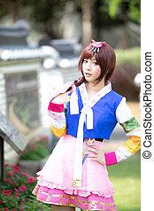 retrato, coreano, mirar, hanbok, joven, disfraz, sonrisa,...