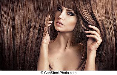 retrato, corte cabelo, elegante, senhora, bonito