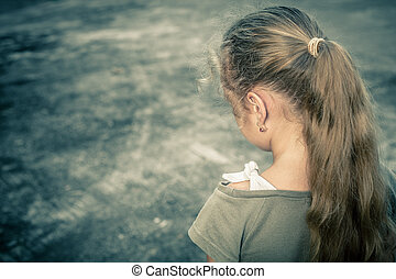 retrato, criança triste