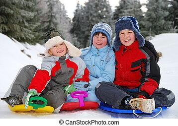retrato, crianças, inverno