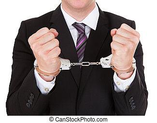 retrato, criminal, homem negócios