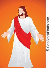 retrato, cristo, jesús