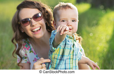 retrato, cute, adorável, mãe, filho