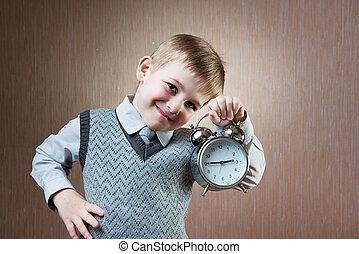 retrato, cute, diligente, menino