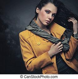 retrato, dama, joven, calma