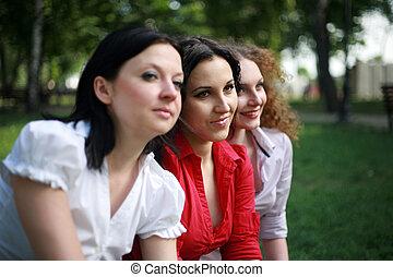retrato, damas, tres