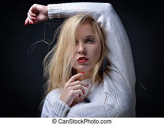 retrato, de, a, bonito, excitado, loiro, mulher