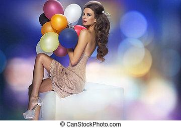 retrato, de, a, excitado, mulher, com, balões