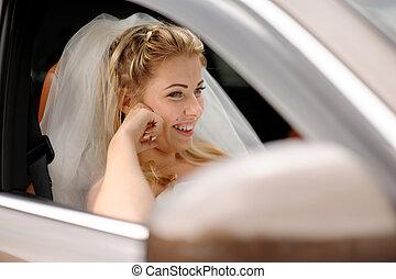 retrato, de, a, feliz, noiva, um carro