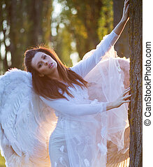 retrato, de, a, inocente, anjo