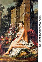 retrato, de, a, menina jovem, desenhado, por, óleo, ligado, um, lona, em, antiga, estilo
