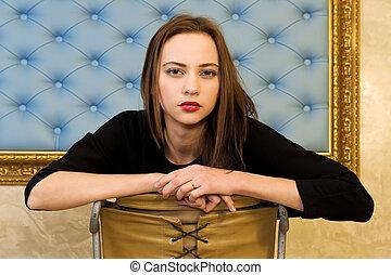retrato, de, a, mulher bonita