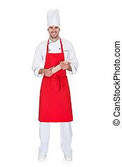 retrato, de, alegre, chef, en, uniforme