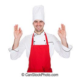 retrato, de, alegre, cozinheiro, em, uniforme