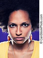 retrato, de, americano afro, menina