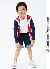 retrato, de, asiático, divertido, niño, con, sonrisa, cara