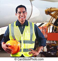 retrato, de, asiático, profesional, ingeniero