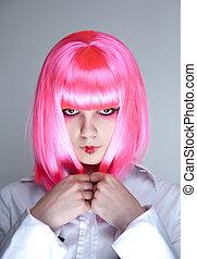 retrato, de, atractivo, mujer, con, japonés, maquillaje