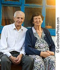 retrato, de, avós