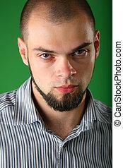 retrato, de, barbudo, sujeito