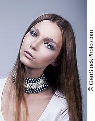 retrato, de, bastante, mujer joven, bastante, cara, -, clásico, maquillaje