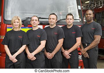 retrato, de, bombeiros, ficar, por, um, despeça motor