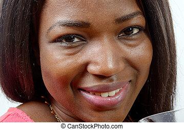 retrato, de, bonito, americano africano, mulher jovem