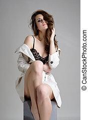 retrato, de, bonito, femininas, modelo
